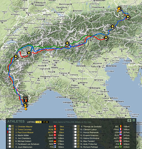 red bull x alps map